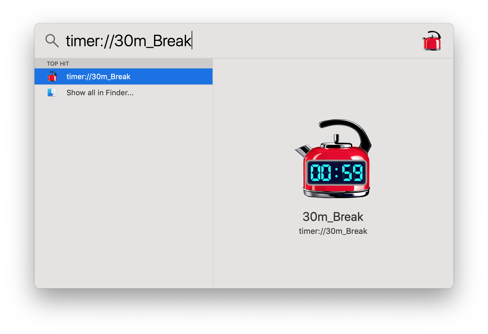 Create timer from spotlight search bar in Mac OS